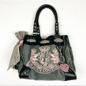 Juicy Couture Y2K Gray Velour Embroidered Bag